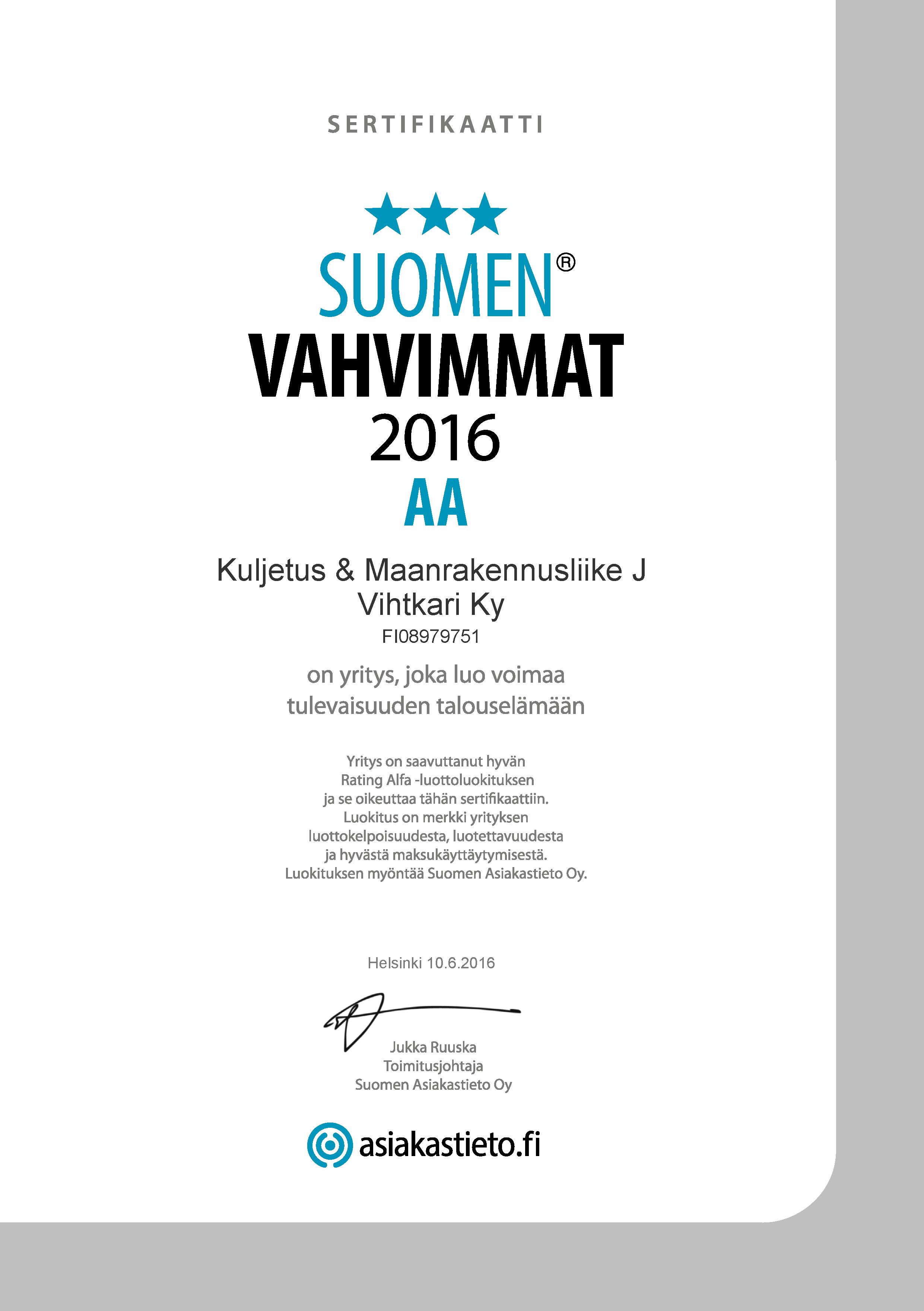 Sertifikaatti: Kuljetus & Maanrakennusliike J Vihtkari